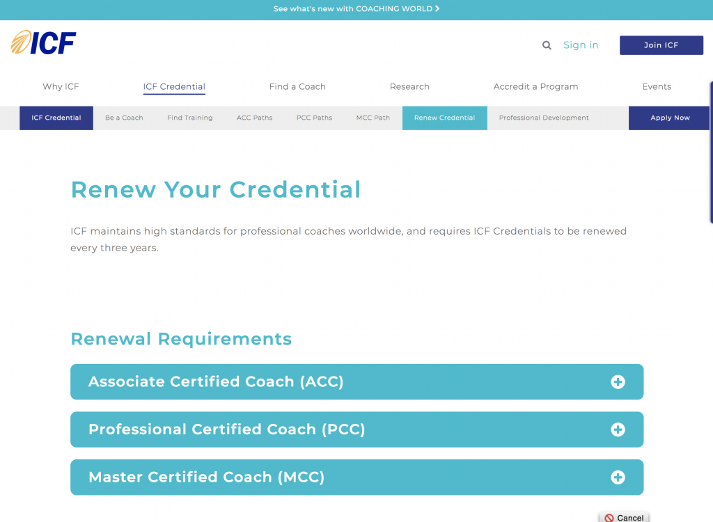 ICF Renew Credential